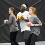 Student-athletes play dodgeball during National Fitness Day.