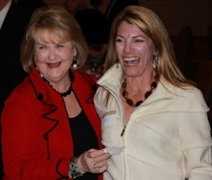 Carole Ann Daniel and Dixie Trulove share a laugh at the 2010 Brenau President's Club Dinner following the awards presentation.
