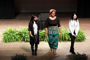 From left, Junjun Tong who showed her line Motion & Memory, Candice Jenkins displayed Freedom and Amanda Maddox showed her collection Gehenna during the 2013 Brenau Collaborative Fashion Show.