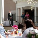 Brenau University President Ed Schrader gives a speech before the champagne toast during Alumnae Reunion Weekened on Brenau's Gainesville campus.