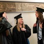 From left, Anna Maness, Taylor Kelley and Sally Duggan chat before walking into their graduation in Pearce Auditorium Tursday. The seniors on the Golden Tiger softball team could not attend the Women's College graduation last Friday because they were competing in the Southern States Athletetic Conference Tournament in Columbus, Ga.