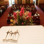 Diplomas for the six graduating seniors on the Brenau University softball team lay on a table before the start of the commencement services held for the girls. The seniors on the Golden Tiger softball team could not attend the Women's College graduation last Friday because they were competing in the Southern States Athletetic Conference Tournament in Columbus, Ga.