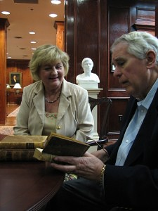 Richard Leet and Helen Ray in Brenau Rare Books Room
