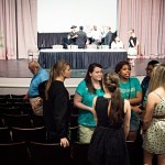 Brenau University students discuss the panel and community conversation held in the Hosch Theatre.