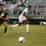 Brenau's Esther Anyanwu looks to the ball as she drives down the field into Belhaven territory during Thursday's game.