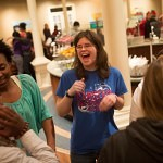 Joan Pack laughs with friends during midnight breakfast.