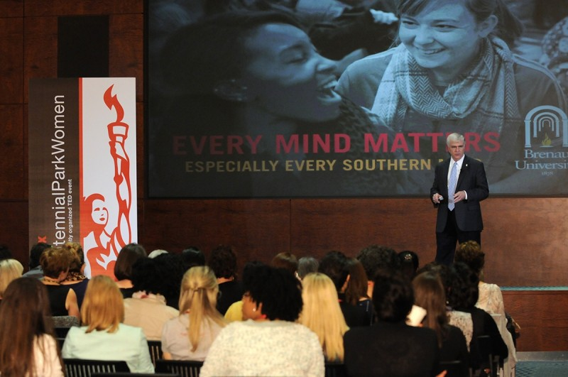 Brenau University President Ed Schrader speaks to attendees at the Tedx CentennialParkWomen event on Dec. 5 in Atlanta where he spoke on the importance of educating women.