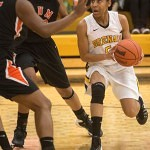 Brenau's Kalin Williams drives to the basket.