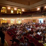 Brenau Women's College first year students and their parents sit for a question and answer session in Pearce Auditorium during move-in day.