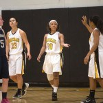 Brenau's Dominique Patrick looks for a high-five from her teammate Autumn Dodson