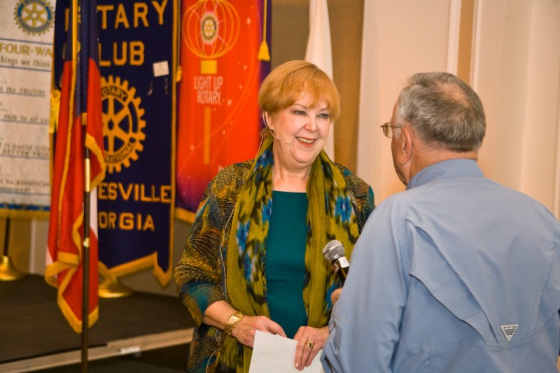 Kathy Amos, Brenau University BULLI director presents at Gainesville Rotary Club Monday, March 9.