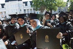 Leila Alsalami, Jawaher Alntifat and Sukarah Almulhim pose for a photo after they earned their Master of Arts in Teaching degree during this year's undergraduate and graduate commencement at Brenau.