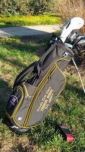 To honor the memory of Private First Class Theron V. Hobbs, the Brenau University Golden Tigers Golf Team displays his name and rank on their custom golf bags as part of the 2015-16 Folds of Honors Military Tribute Program.