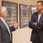 Congressman Doug Collins (R-GA, 9th District) speaks with Brenau University President Ed Schrader at the Brenau University Gainesville East Campus on Thursday, March 31, 2016.