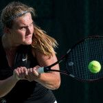 Brenau's Rebecca Pijls hits a backhand return in singles play during a SSAC Women's Tennis Championship semifinal match against Middle Georgia State University on Friday, April 22, 2016 at the Mobile Tennis Center in Mobile, Ala. Brenau won 5-2. (AJ Reynolds/Brenau University)