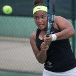 Brenau's Fatyha Berjane hits a return during a SSAC Women's Tennis Championship semifinal match against Middle Georgia State University on Friday, April 22, 2016 at the Mobile Tennis Center in Mobile, Ala. Brenau won 5-2. (AJ Reynolds/Brenau University)