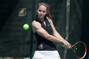Brenau's Patricia Recalde Pacua hits a return during a quarterfinals match against Martin Methodist in the SSAC Women's Tennis Championship on Friday, April 22, 2016, at the Mobile Tennis Center, in Mobile, Ala. (AJ Reynolds/Brenau University)