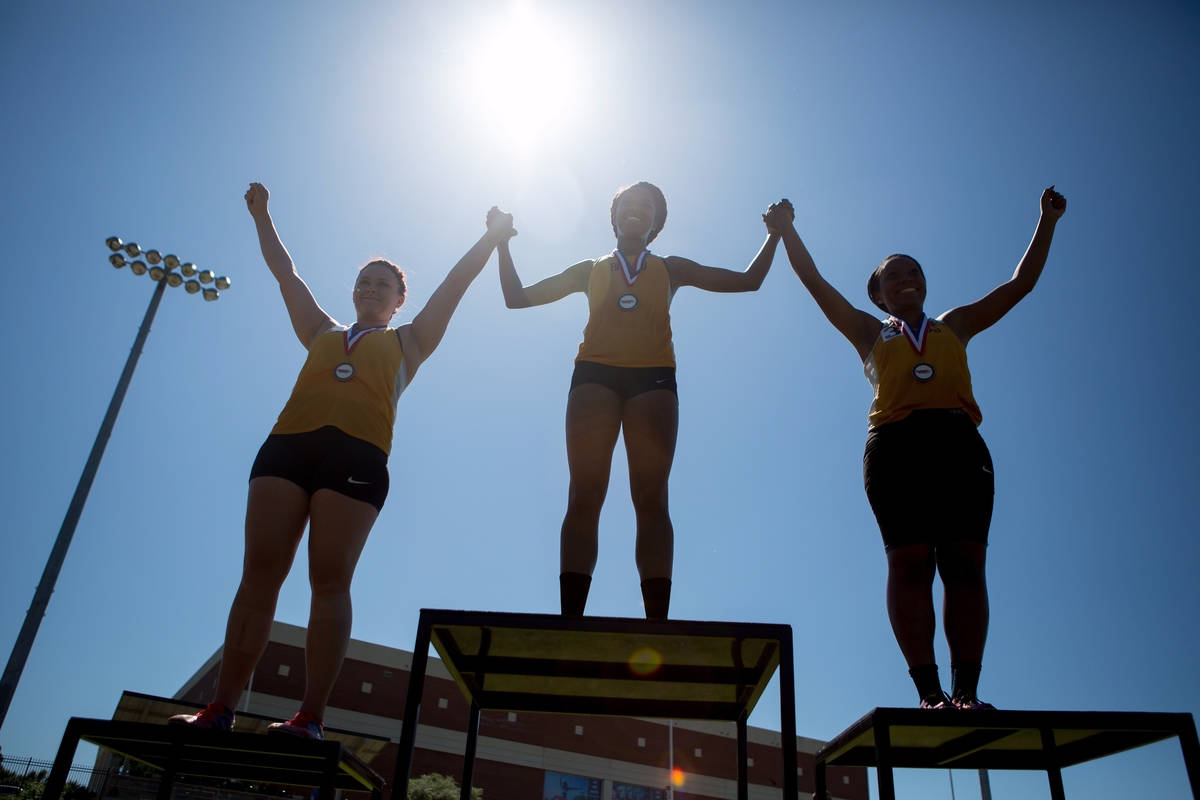Tigers Triumphant! Brenau Track & Field student-athletes, from left, Felicia Gordon, Jasmine Ray and Aunica Clinton celebrate a clean sweep in the 3,000 meter steeplechase at the SSAC Outdoor Track & Field Championship April 23 in Mobile, Alabama.