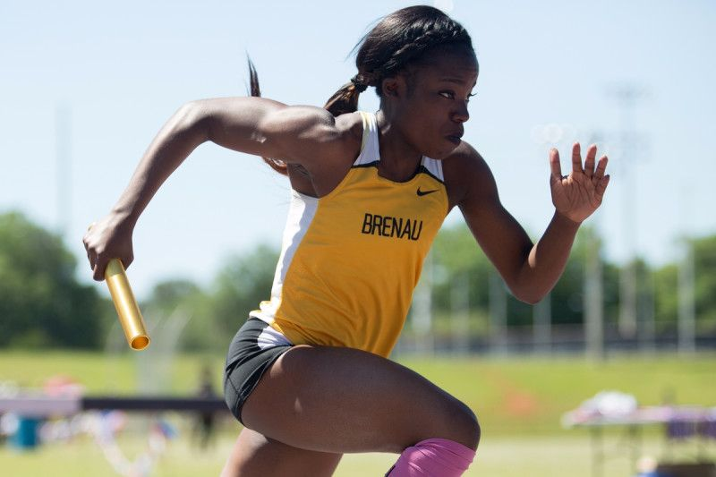 Brenau's Lammy Sokunbi runs during the final day of the SSAC Outdoor Track & Field Championship on Saturday, April 23, 2016, at the Jaguar Track at the University of South Alabama in Mobile, Ala. Track at the University of South Alabama in Mobile, Ala. Brenau won the 2016 SSAC Women's Outdoor Track & Field Championship (AJ Reynolds/Brenau University)