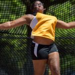 Brenau's Dana Cole competes in the discus during the final day of the SSAC Outdoor Track & Field Championship on Saturday, April 23, 2016, at the Jaguar Track at the University of South Alabama in Mobile, Ala. Track at the University of South Alabama in Mobile, Ala. Brenau won the 2016 SSAC Women's Outdoor Track &cField Championship (AJ Reynolds/Brenau University)