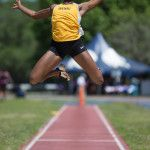 Brenau's Ismaelle Occeus competes in the long jump during the final day of the SSAC Outdoor Track & Field Championship on Saturday, April 23, 2016, at the Jaguar Track at the University of South Alabama in Mobile, Ala. Track at the University of South Alabama in Mobile, Ala. Brenau won the 2016 SSAC Women's Outdoor Track & Field Championship (AJ Reynolds/Brenau University)