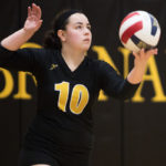 Amber Waddell, a sophomore from Cumming, Ga., serves during a Brenau volleyball game against Dalton State on Friday, Sept. 9, 2016. (AJ Reynolds/Brenau University)
