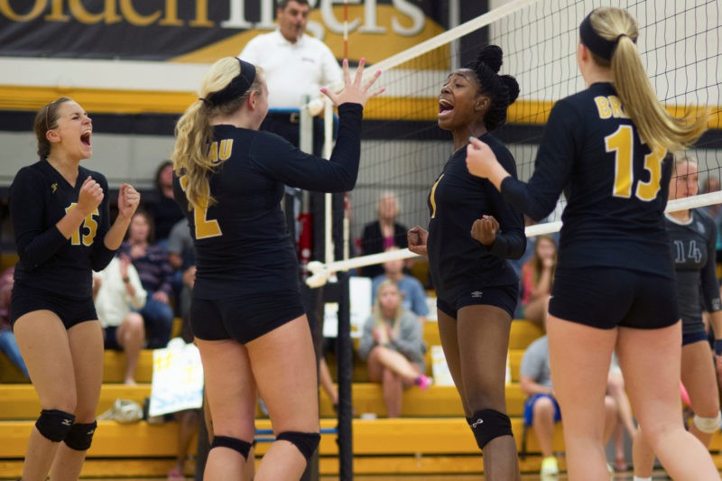 Brenau Volleyball players cheer during a Brenau volleyball game against Dalton State