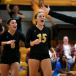 Amanda Bowersox, a freshman from Vicksburg, Miss., and Pamela Konken, a senior from Stockbridge, Ga., celebrate during a Brenau volleyball game against Dalton State on Friday, Sept. 9, 2016. (AJ Reynolds/Brenau University)