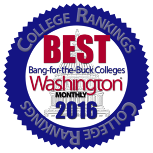 Washington Monthly's 'Best Bang for the Buck' Colleges 2016 logo
