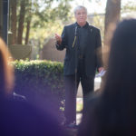 Brenau President Ed Schrader delivers a few remarks at the Vigil for Lives Lost. (AJ Reynolds/Brenau University)