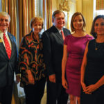 Brenau President Ed Schrader, Kay Ivester, Douglas Ivester, Kristen Soltis Anderson, a Republican pollster and strategist, and Maria Teresa Kumar, Democratic commentator and CEO of Voto Latino, pose for a photo Beyond the Talking Points: What Election 2016 Really Means to Women. The discussion was a part of the Douglas and Kay Ivester Programming Series at the university. (AJ Reynolds/Brenau University)