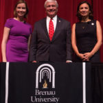 Kristen Soltis Anderson, a Republican pollster and strategist, , Brenau President Ed Schrader and Maria Teresa Kumar, Democratic commentator and CEO of Voto Latino, poses for a photo after Beyond the Talking Points: What Election 2016 Really Means to Women. The discussion was a part of the Douglas and Kay Ivester Programming Series at the university. (AJ Reynolds/Brenau University)
