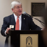 Brenau President Ed Schrader speaks during the dedication of the Mary Inez Grindle School of Nursing. (AJ Reynolds/Brenau University)