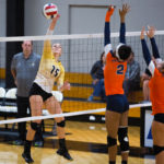 Woman tipping the ball over the net in volleyball game.
