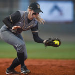 Mason Garland fields a ground ball during the opening double header at Pacolet Milliken Field at the Ernest Ledford Grindle Athletics Park between the Brenau Golden Tigers and Talladega College. (AJ Reynolds/Brenau University)