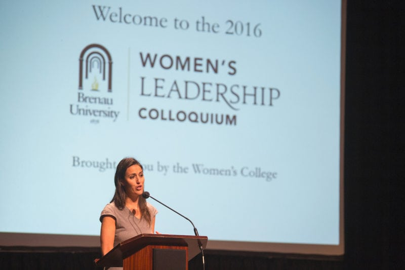 Amanda Slavin speaking at the 2016 Women's Leadership Colloquium.