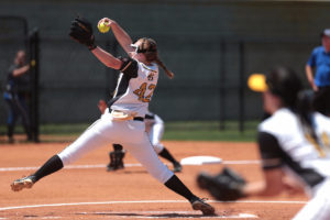 Brenau pitcher Eli Daniel, a freshman from Locust Grove, Ga., pitches in the first inning as Brenau women's softball takes on College of Coastal Georgia in Southern States Athletic Conference (SSAC) at Ernest Ledford Grindle Athletic Park, Friday, April 21, 2017. Brenau defeated Coastal 2-1. (Photo/ John Roark, for Brenau University)
