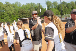 Brenau head coach Devon Thomas high fives players after his team defeated Coastal clinching an undefeated season during the Southern States Athletic Conference (SSAC) at Ernest Ledford Grindle Athletic Park, Friday, April 21, 2017. (Photo/ John Roark, for Brenau University)