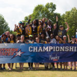 The Brenau Golden Tigers pose for a photo after winning during the SSAC Outdoor Track & Field Championship in Mobile, Ala. Brenau won their 5th straight SSAC conference championship. (AJ Reynolds/Brenau University)