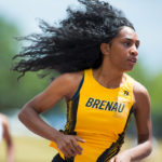 Anazjah Mayes, a senior from Lawrenceville, Ga., runs the 400m hurdles during the second day of the SSAC Outdoor Track & Field Championship in Mobile, Ala. Brenau won their 5th straight SSAC conference championship. (AJ Reynolds/Brenau University)