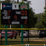 The scoreboard displays the final score after the championship game of the SSAC conference tournament against Mobile. Brenau won 2-1 in nine inning. Brenau's finished SSAC play, both regular season and the conference tournament 30-0. (AJ Reynolds/Brenau University)