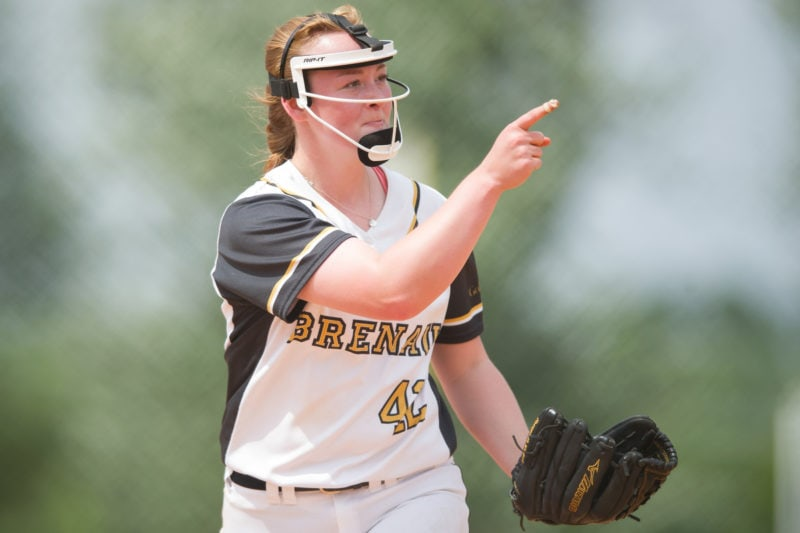 Brenau pitcher Eli Daniel, a freshman from Locust Grove, Ga., reacts after a strikeout during the championship game of the SSAC conference tournament against Mobile. Brenau won 2-1 in nine inning. Brenau's finished SSAC play, both regular season and the conference tournament 30-0. (AJ Reynolds/Brenau University)
