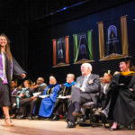Annie Lee Ranus walks across the stage to receive her Bachelor of Science in Nursing degree during the spring commencement ceremony for the Women's College at Brenau University. (AJ Reynolds/Brenau University)
