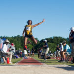 Brenau's Ismaelle Occeus, a senior from Lawrenceville, Ga., competes in the women's long jump during the NAIA Track & Field Championships in Gulf Shores, Ala. (AJ Reynolds/Brenau University)