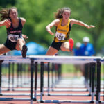 Sydney Romine, a freshman from Jasper, Ga., competes in the 100m hurdles during the NAIA Track & Field Championships in Gulf Shores, Ala. (AJ Reynolds/Brenau University)