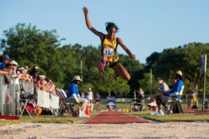 Ismaelle Occeus, a senior from Lawrenceville, Ga., competes in the triple jump during the NAIA Track & Field Championships in Gulf Shores, Ala. Occeus place 10th in the event. (AJ Reynolds/Brenau University)