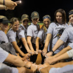 Members of the 2017 SSAC Champion Brenau Golden Tigers softball team pose with their conference championship rings after an alumnae softball game during Brenau's homecoming festivities on Friday, Sept. 29, 2017, in Gainesville, Ga. (AJ Reynolds/Brenau University)