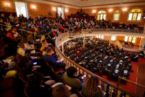 Graduates and their families fill Pearce Auditorium for the Brenau University graduate winter commencement ceremony. (AJ Reynolds/Brenau University)
