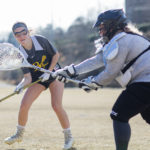 Bonnie Lauman shoots while goalkeeper Haley Heil during a lacrosse practice at Riverside Military Academy on Friday, Jan. 26, 2018 in Gainesville, Ga. (AJ Reynolds/Brenau University)