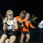 Brenau's Cora Wallace, a freshman from Cumming, Ga., looks for a pass during the first Brenau lacrosse match against Georgetown College on Friday, Feb. 9, 2018 in Gainesville, Ga. (AJ Reynolds/Brenau University)